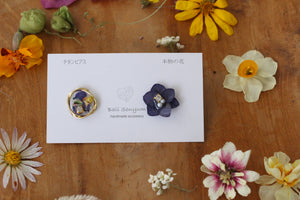 Hydrangea and Flower Medallion Titanium metal pierce.(チタンピアス)- No.19