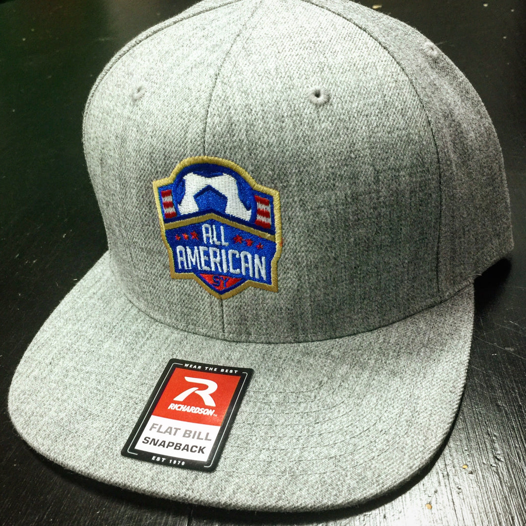 All-American Wool Flatbill Snapback Hat (Heather Grey)
