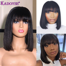 Load image into Gallery viewer, Short/Bob Pre-Plucked 13x4 Lace Front Human Hair Wig w/Bangs