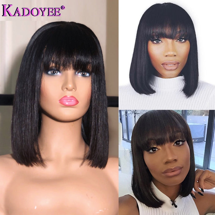 Short/Bob Pre-Plucked 13x4 Lace Front Human Hair Wig w/Bangs