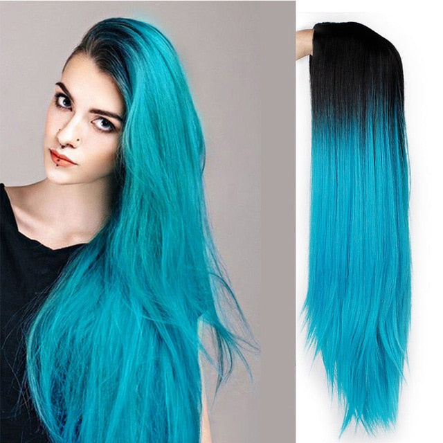 Straight Long Synthetic Wig (Blue)