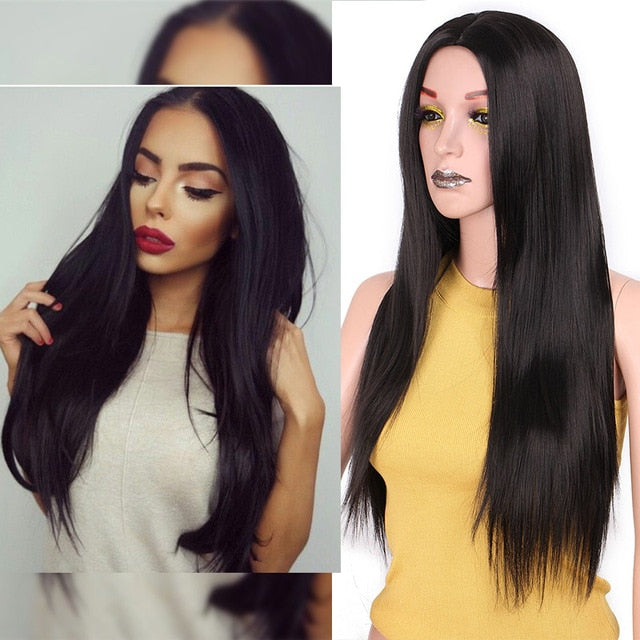 Straight Long Synthetic Wig (Black)