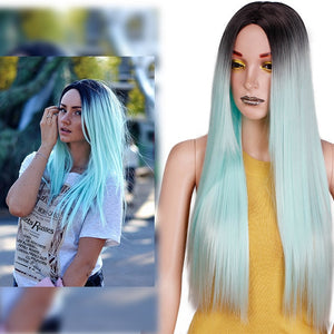 Straight Long Synthetic Wig (Green)