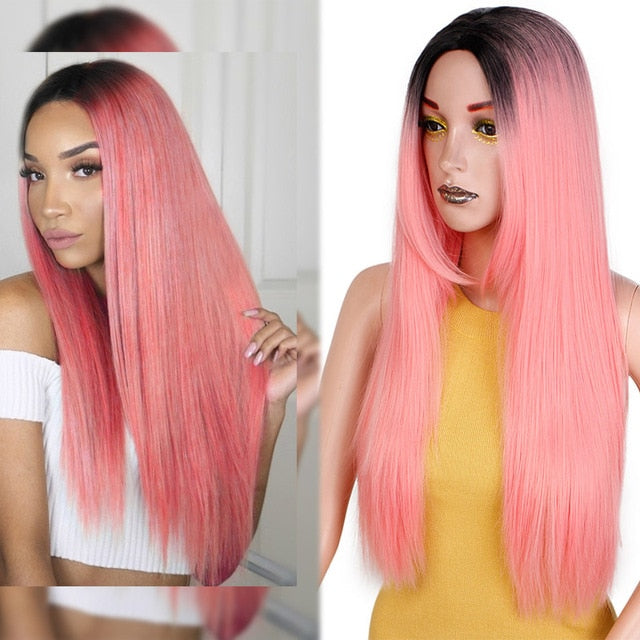 Straight Long Synthetic Wig (Pink)