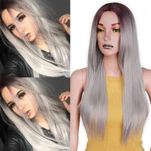 Straight Long Synthetic Wig (Silver Grey)