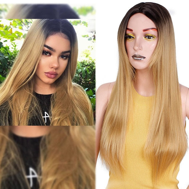 Straight Long Synthetic Wig (Light Brown)