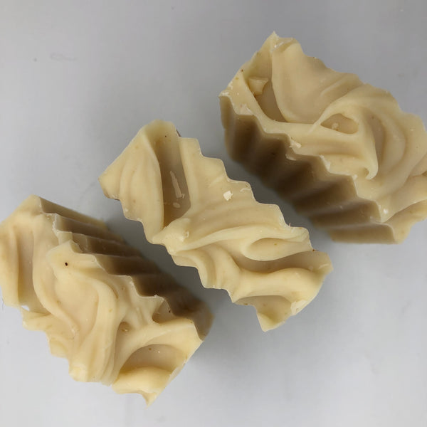 Top view of Sensitive, a handmade, organic soap bar