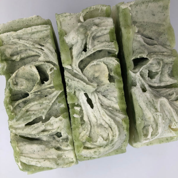 Top view of Minty Fresh, a handmade, organic soap bar