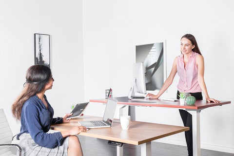 Photo of women working at a standing desk