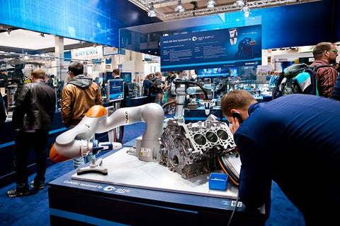 Universal Robots UR5 equipped with Schunk grippers on Messe fair in Hannover, Germany