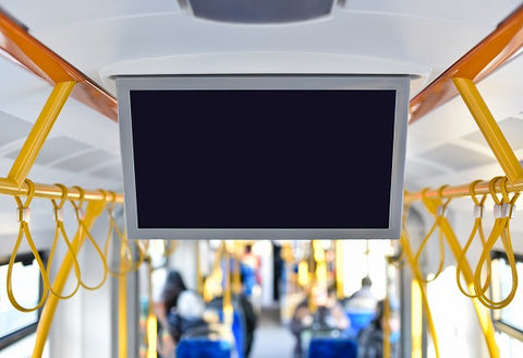 Photo of TV monitor in city public transport