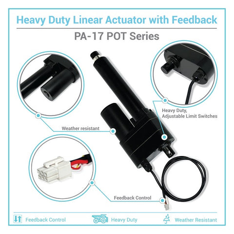 Infographic of the linear actuator with position feedback PA-17 POT series by Progressive Automations