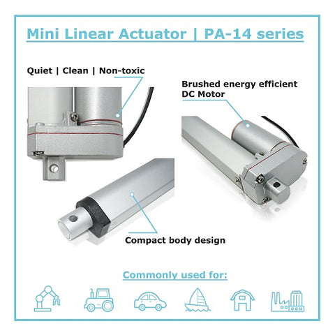 Infographic of the linear actuator PA-14 by Progressive Automations