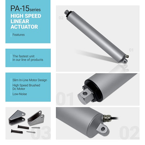 Infographic of the linear actuator PA-15 by Progressive Automations