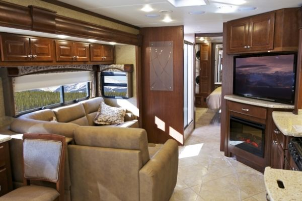 RV with a TV lift