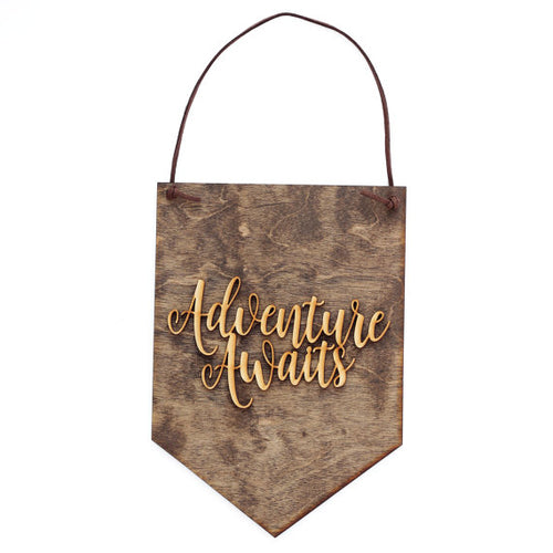 """Adventure Awaits"" Laser Cut Wood Wall Hanging"