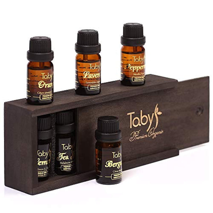 Aromatherapy Essential Oil Set - Bergamot, Lavender, Tea Tree, Peppermint, Lemon, Orange