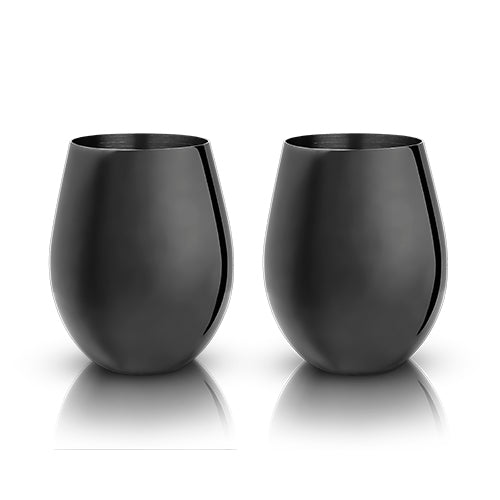 Warren: Gunmetal Black Stemless Wine Glasses (VISKI)