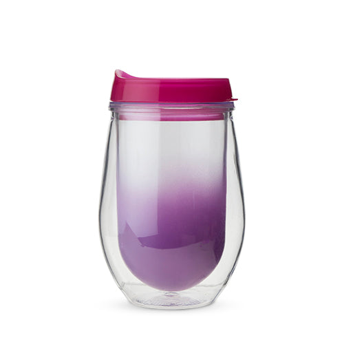 Traveler Double Walled Wine Tumbler in Berry Ombre by True