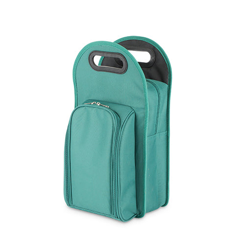 Metro™: 2-Bottle Tote in Green & Black