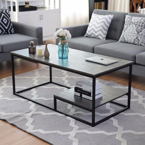Rustic Iron & Wood Coffee Table