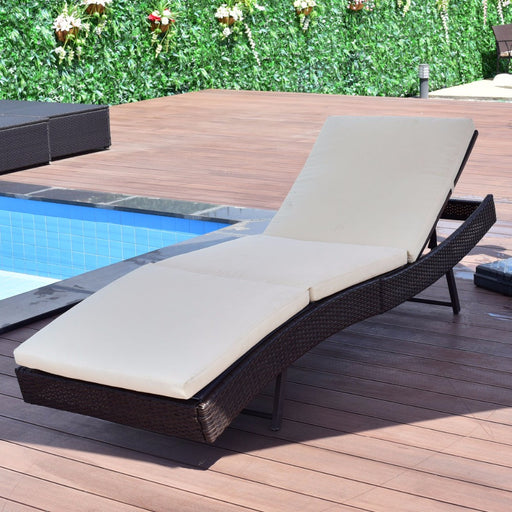 Premium Patio Sun Bed Adjustable Pool Wicker Lounge Chair