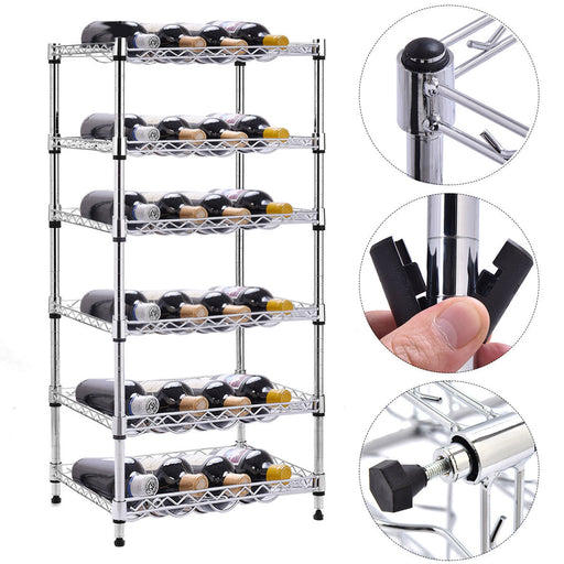 6-Shelf 24 Bottles Modern Metal Wine Rack