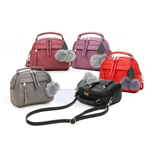 Pom Pom PU Leather Satchel