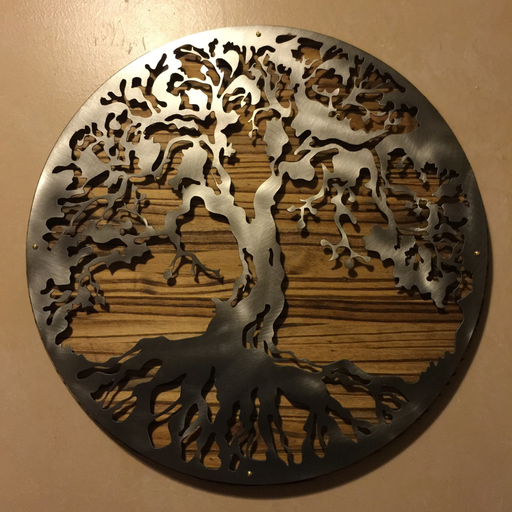 Hand oiled pine mounted tree of life / 2 footer / metal art