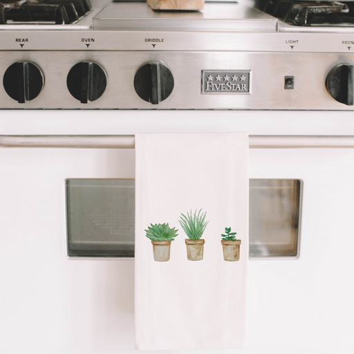 Succulent Pots Watercolor Tea Towel