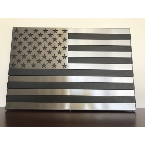Real Carbon Fiber Flag Inlaid with Polished Steel Stars and Stripes