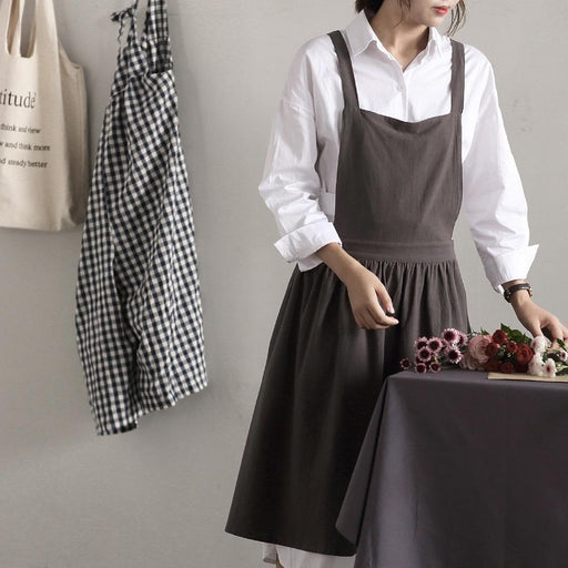 Adjustable Soft Cotton Linen Pinafore Apron One