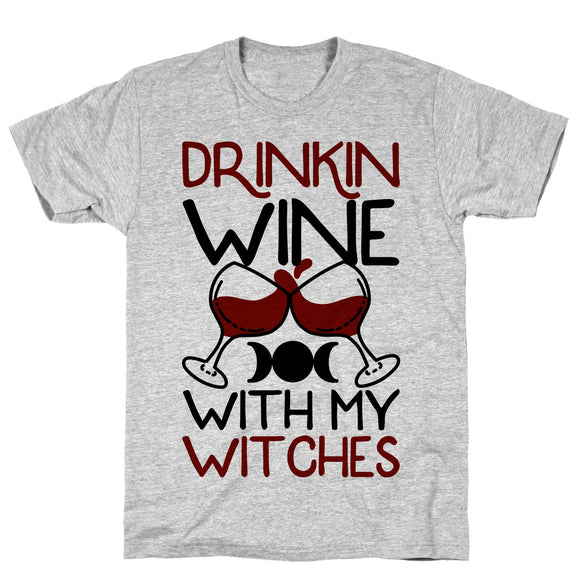 tee,shirt,t-shirt,drinking,wine,witches,Halloween,with,adult,unisex,gray