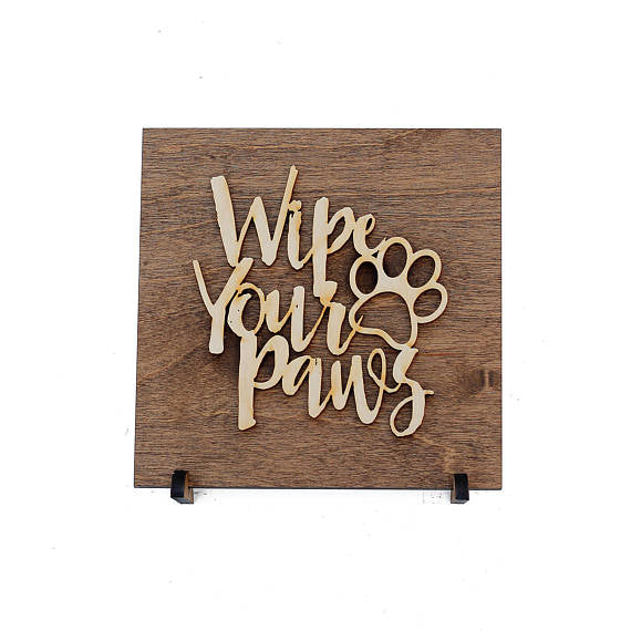 wipe your paws,sign,wood,home decor,handmade,woodwork