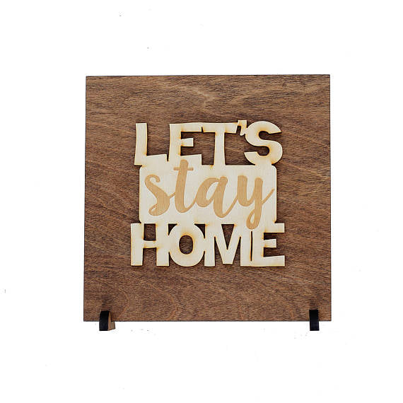 let's stay home,sign,wood,home decor,handmade,woodwork