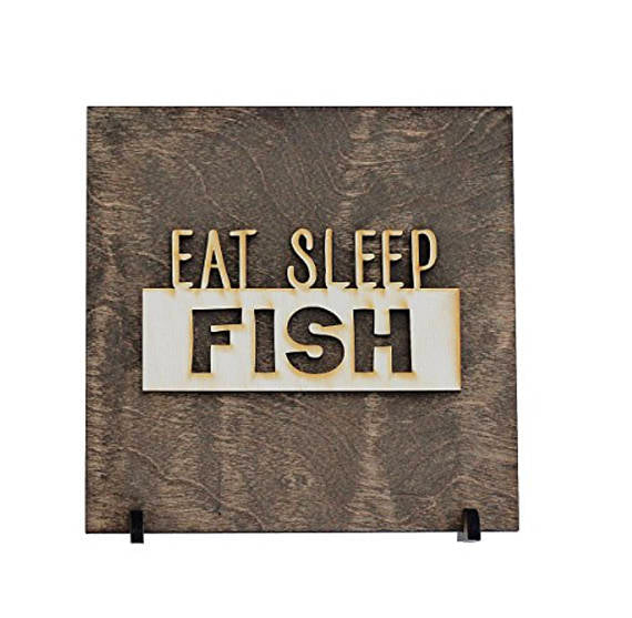 eat sleep fish,sign,wood,home decor,handmade,woodwork