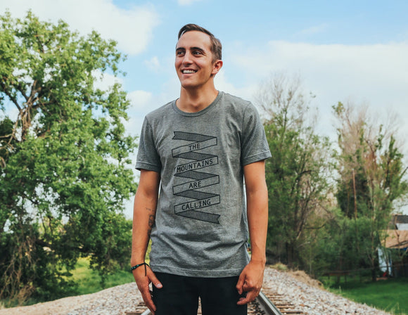 mountains,calling,tee,shirt,t-shirt,unisex,gray,camping