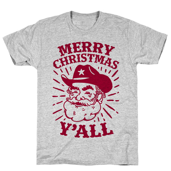merry,Christmas,y'all,Santa,Claus,tee,shirt,t-shirt,unisex,cotton,south