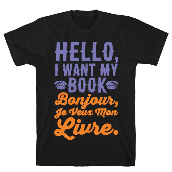 hello,want,book,my,french,Halloween,tee,shirt,t-shirt