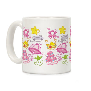 Peach Inventory Items Pattern Ceramic Coffee Mug