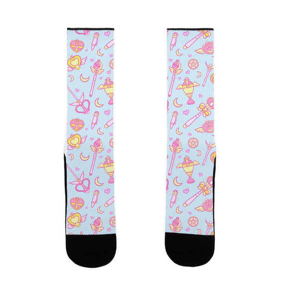 socks,gift,Sailor Moon,Serena,funny,staffs,wands,made in USA,lookhuman