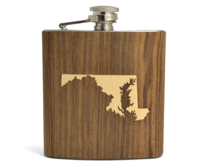flask,wood,gift,state,handmade,made in USA,autumn summer
