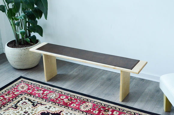 hardwood,wood,leather,bench,minimalist,handmade,iron,roots,design