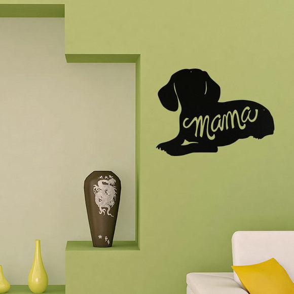 dachshund,mama,silhouette,steel,wall,art,hanging,sign,home decor