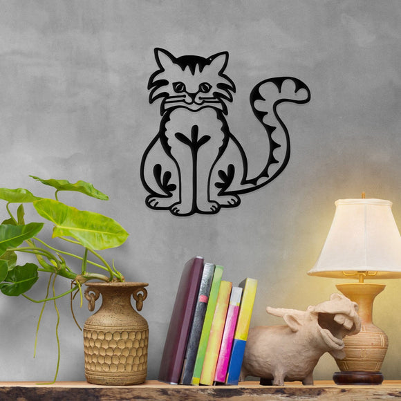 happy,cat,steel,wall,art,hanging,sign,home decor
