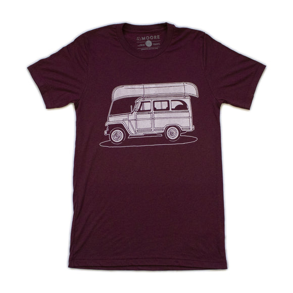 Willy Wagon Tee-Maroon