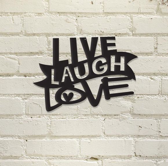 live laugh love,steel,wall,art,hanging,sign