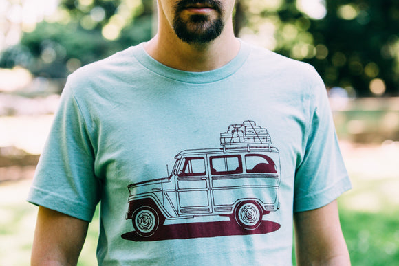 shirt,tee,gift,wagon,jeep,unisex,handmade,made in USA,Moore