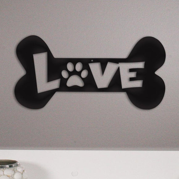 puppy,love,bone,steel,paw,wall,art,home decor,hanging