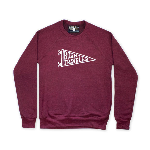 Born Traveler Crewneck Sweatshirt -Crimson